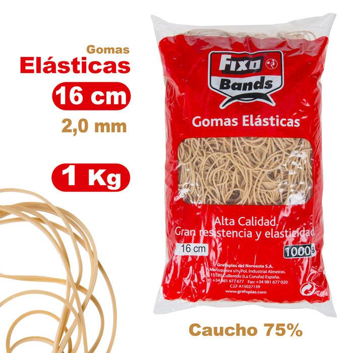 Gomas elasticas 2 mm x 16 cm fixo bolsa 1 kg
