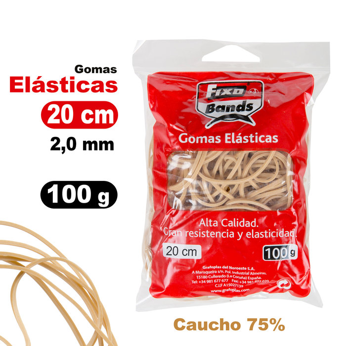 Gomas elásticas 2 mm x 20 cm fixo bolsa 100 gramos