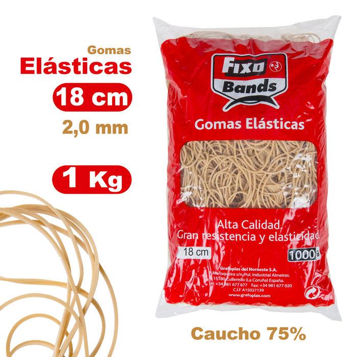 Gomas elásticas 2 mm x 18 cm fixo bolsa 1 kg