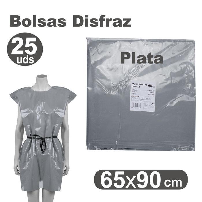 Bolsa disfraz 65x90 25 unid plata