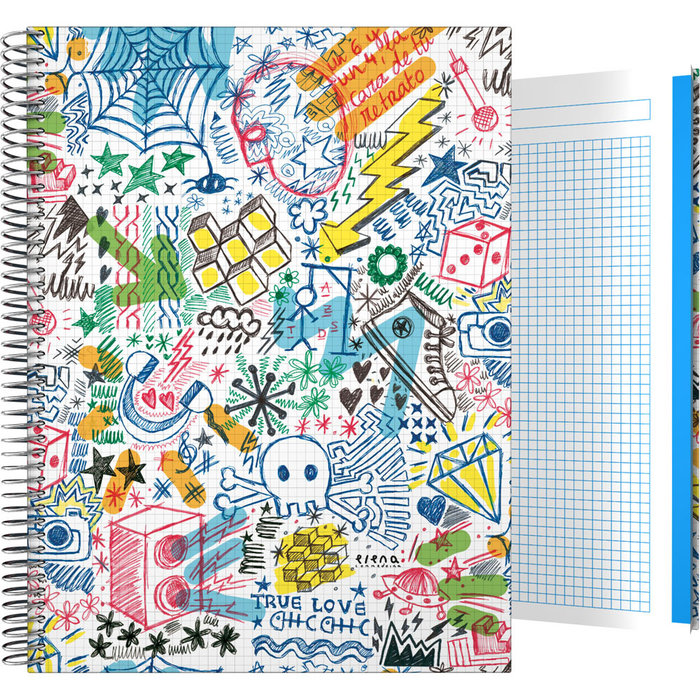 Cuaderno forrada a4 cuadros ec 20 garabato