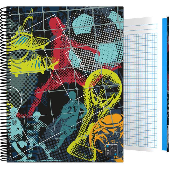Cuaderno forrada a4 cuadros diverse 20 futbol