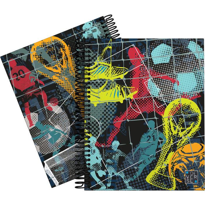 Cuaderno forrada a5 cuadros diverse 20 futbol