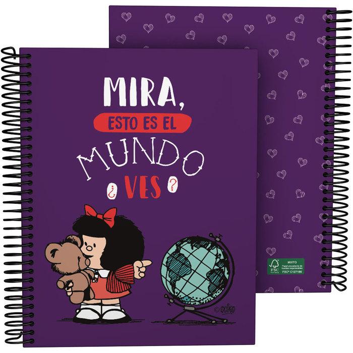 Cuaderno forrado a5 mafalda 21 mundo
