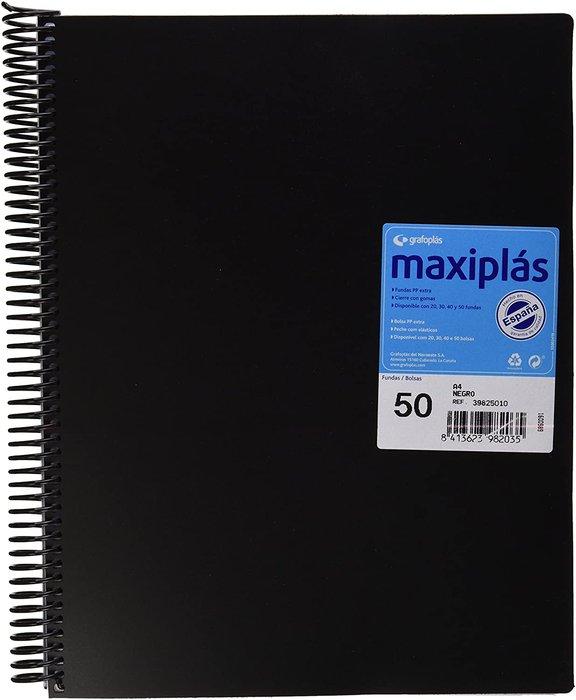 Carpeta 50 fundas maxiplas negra