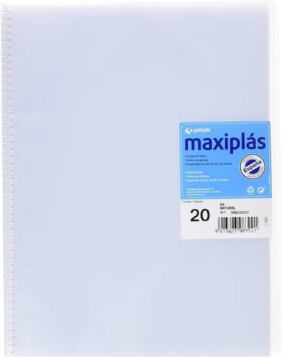 Carpeta 20 fundas maxiplas transparente natural