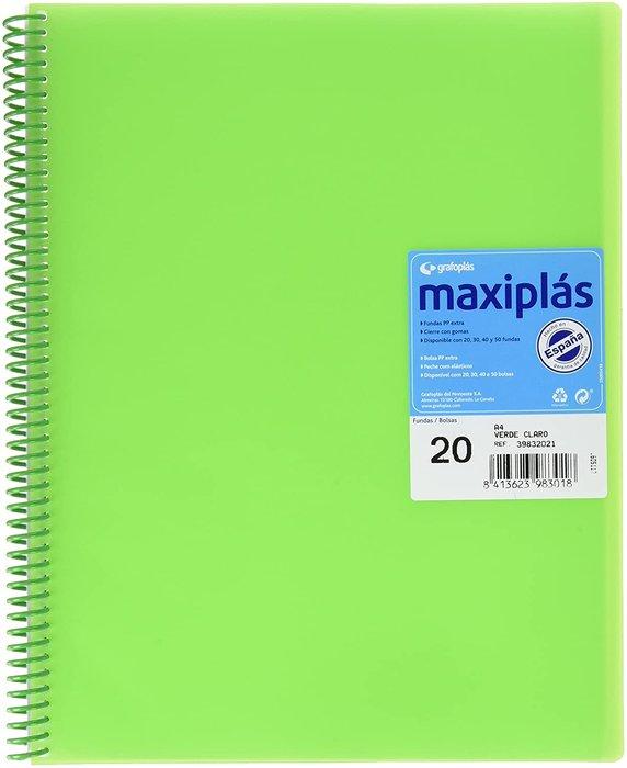 Carpeta 20 fundas maxiplas transp verde