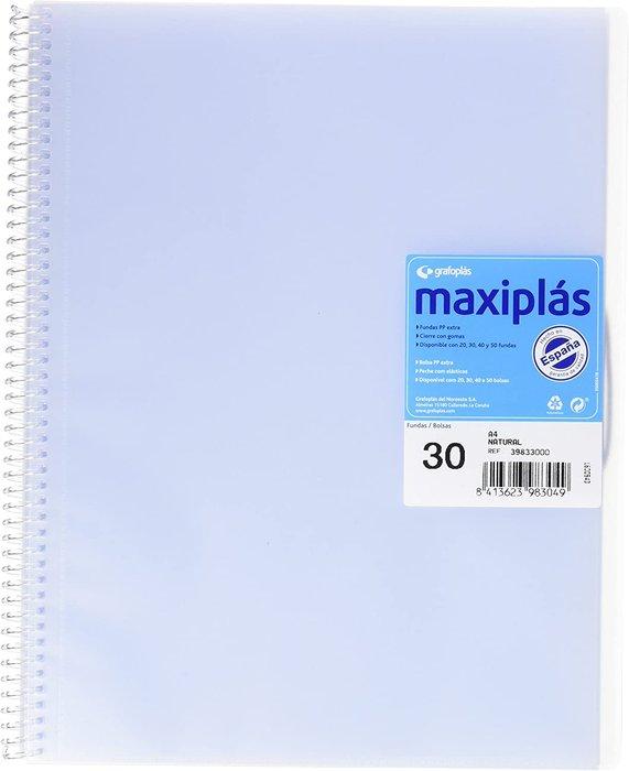 Carpeta 30 fundas maxiplas transp natural