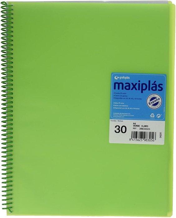 Carpeta 30 fundas maxiplas transp verde