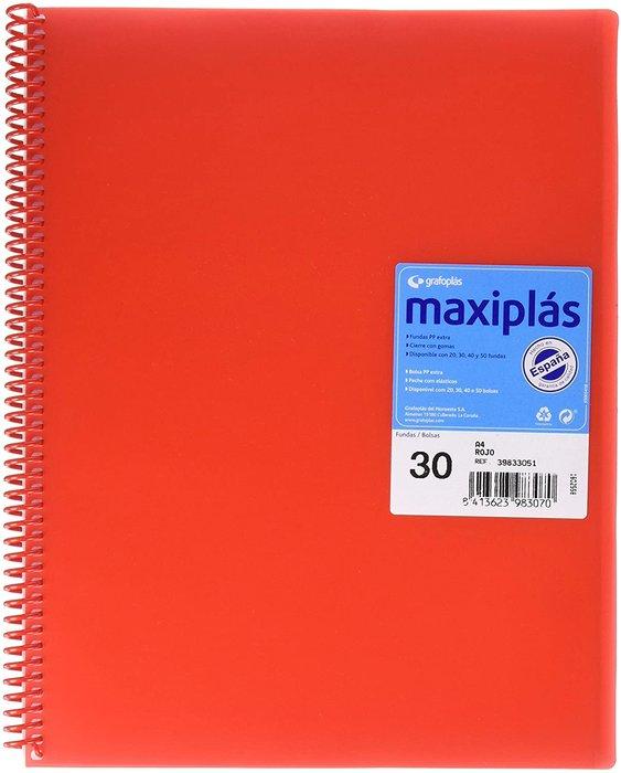 Carpeta 30 fundas maxiplas transp rojo