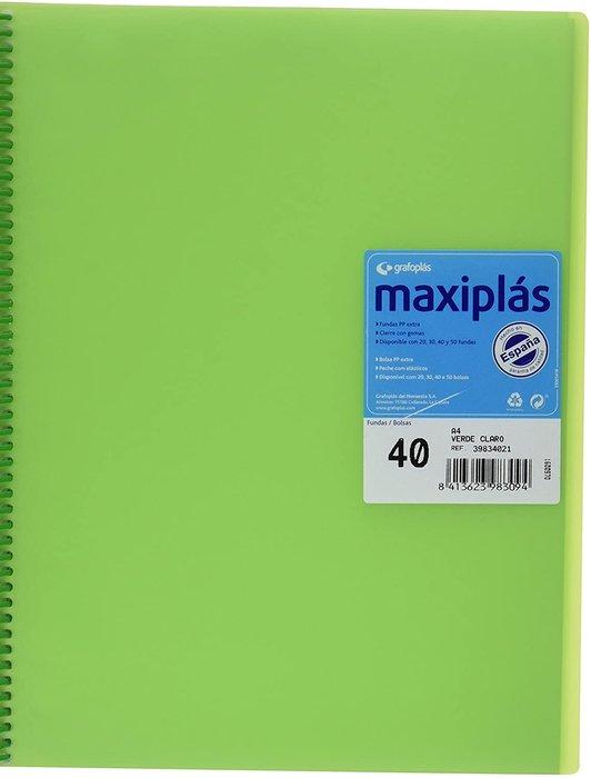 Carpeta 40 fundas maxiplas transparente verde con sobre