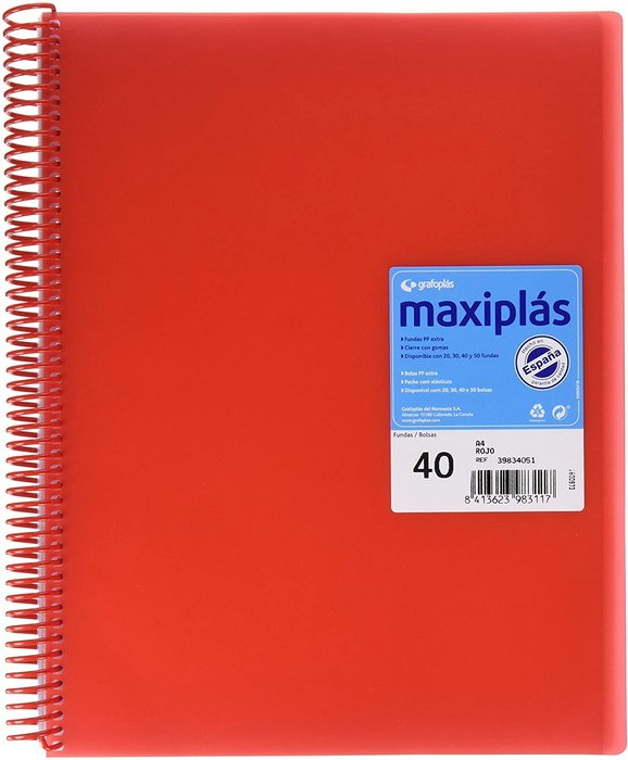 Carpeta 40 fundas maxiplas transp rojo