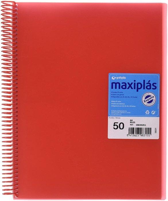 Carpeta 50 fundas maxiplas transp rojo