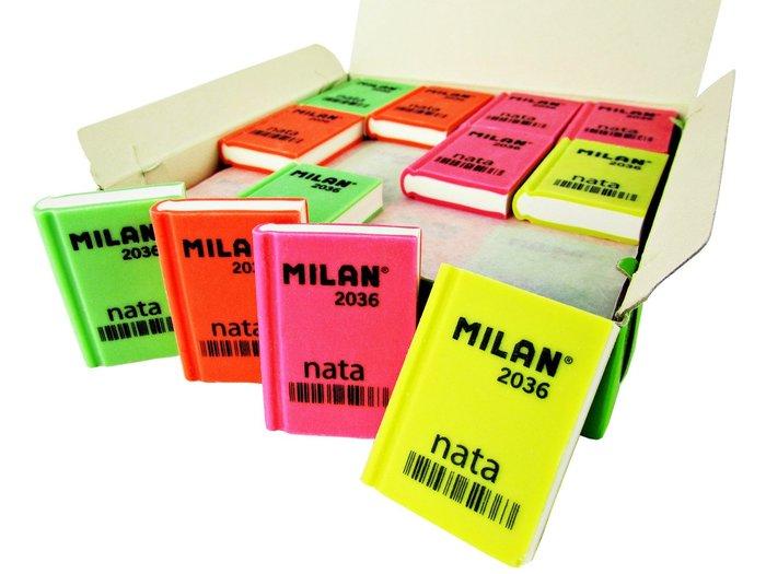 Goma nata milan 2036 libro colores surtidos caja 36 uds