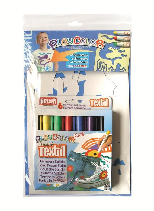 Pintura playcolor pocket textil pack 6 colores + plan. niÑo