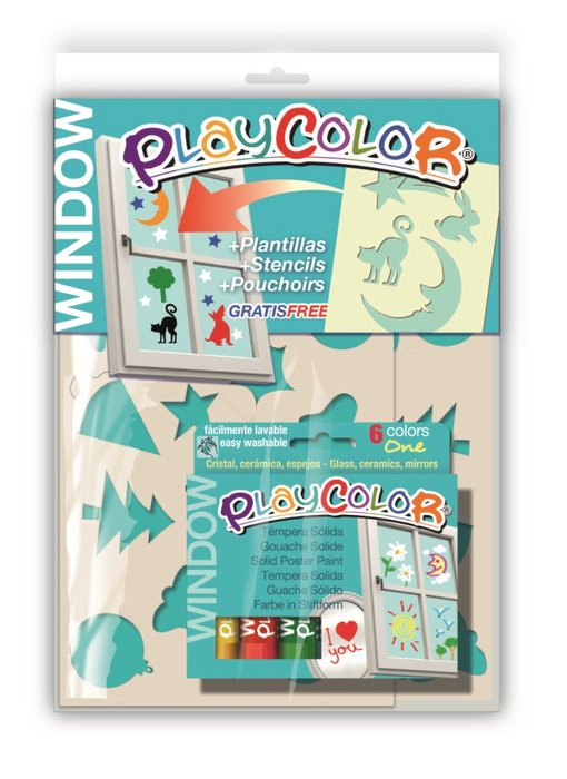 Pintura cristales playcolor window one pack 6 uds. + 2 plan