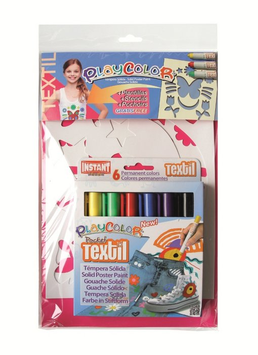 Pintura playcolor pocket textil pack 6 colores + plan. niÑa