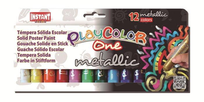 Tempera solida metallic one estuche 12 colores surtidos
