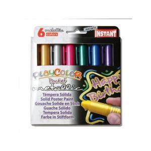Tempera solida playcolor metallic pocket 6 colores surtidos
