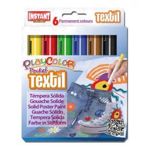 Tempera solida playcolor textil pocket 6 colores surtidos