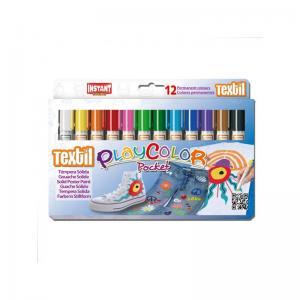 Tempera solida playcolor textil pocket 12 colores surtidos