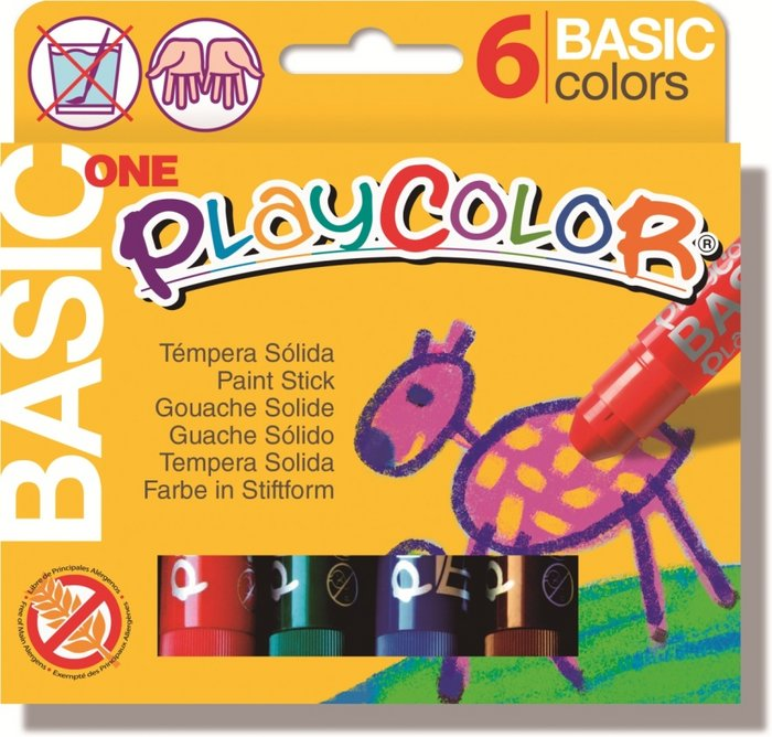 Tempera solida basic one estuche 6 colores surtidos