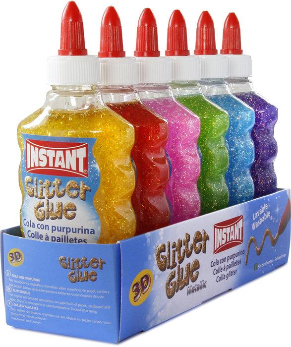Cola instant glitter glue 180 ml 6 colores