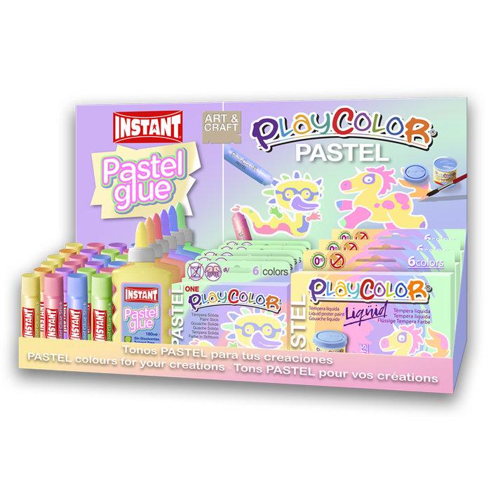 Expositor  temperas playcolor y  adhesivos instant pastel