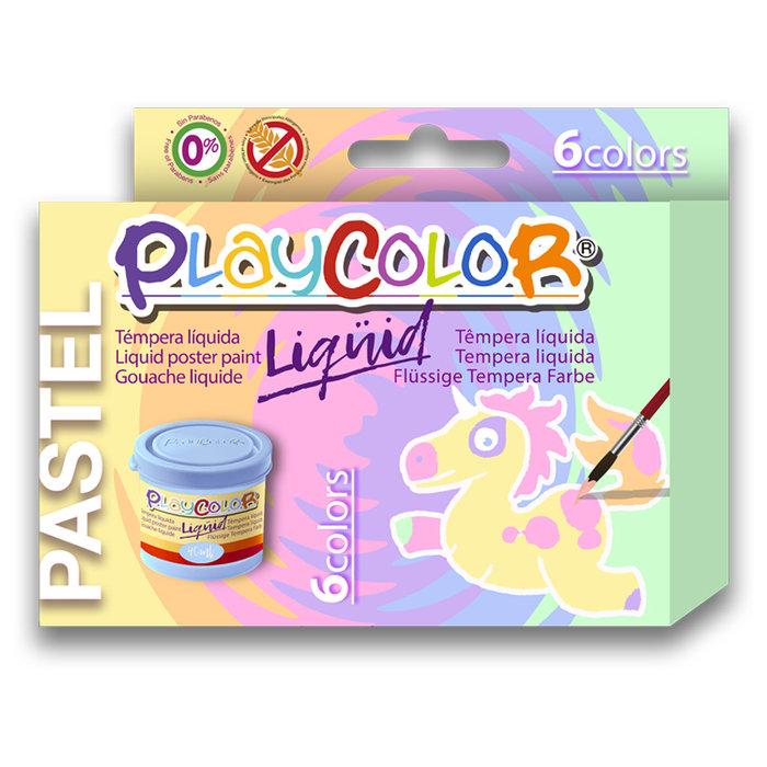 Tempera liquida playcolor 40ml 6 colores pastel