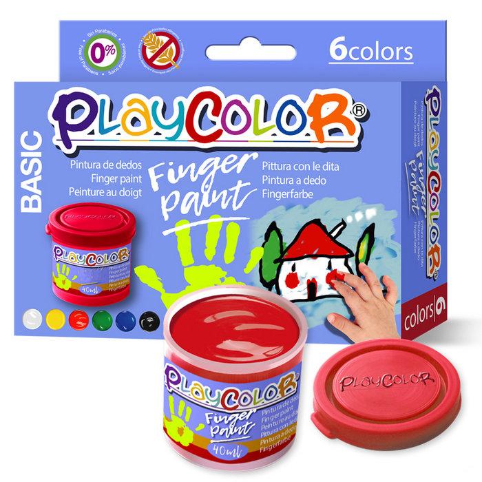 Pintura dedos playcolor finger paint basic 40ml 6 uds surt