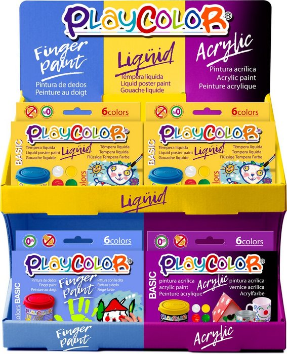 Expositor combinado playcolor liquid finger y acrylic