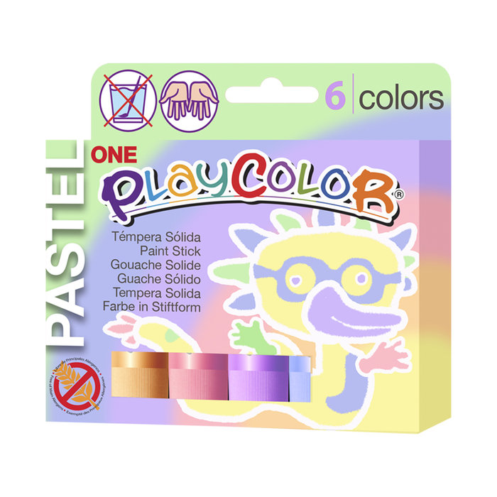Tempera solida playcolor one 6 colores pastel