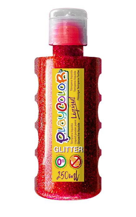 Tempera playcolor liquid glitter 250 ml rojo