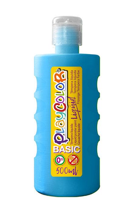 Tempera playcolor liquid basic 500 ml azul claro