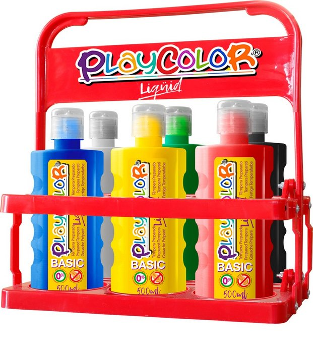 Tempera playcolor liquid basic 500 basket 6