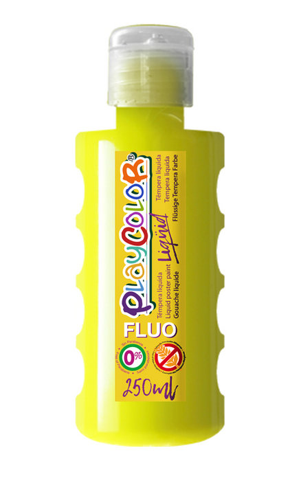 Tempera playcolor liquid fluo 250 ml amarillo