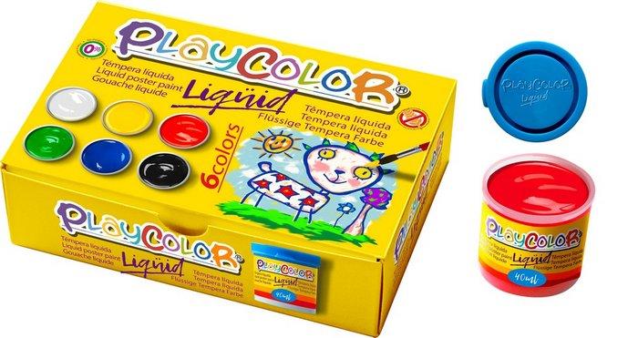 Tempera playcolor liquid 40 ml 6 colores surt con pincel