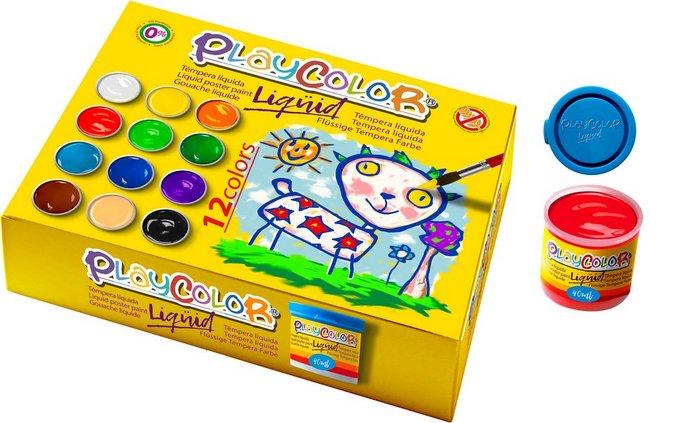 Tempera playcolor liquid 40 ml 12 colores surt con pincel