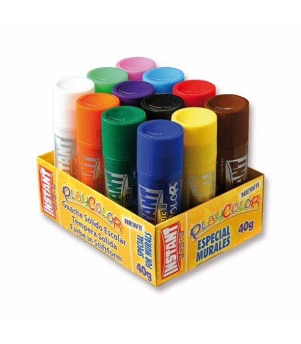 Tempera solida playcolor 40 grs bandeja 12 colores surtidos
