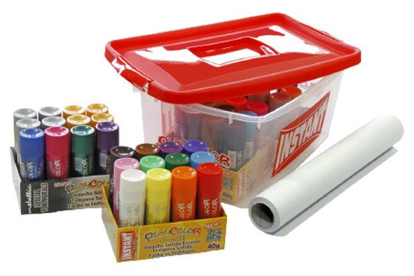 Tempera solida playcolor basic + metallic pack promo tupper