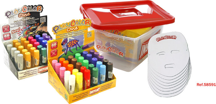 Tempera solida playcolor one basic + metallic pack tupper