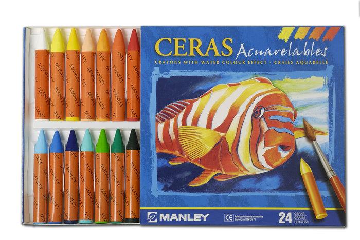 Ceras acuarelables manley colores surtidos ref 424 estuche 2
