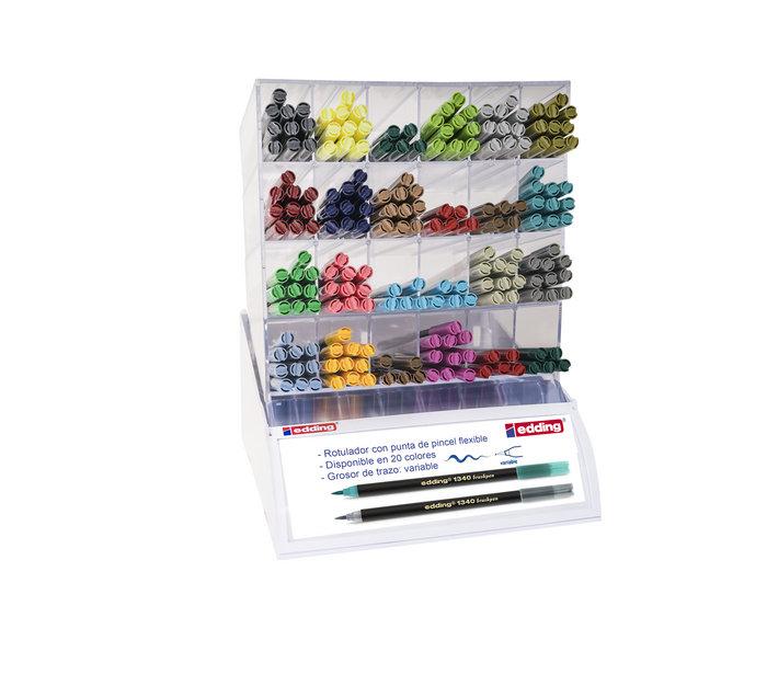 Expositor 200 rotulador edding pincel 1340 colores surtidos