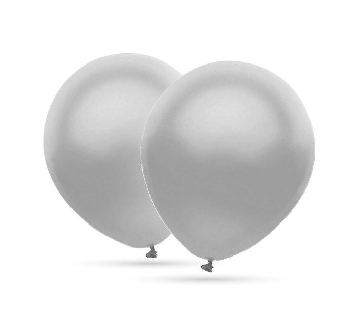 Globos 35 cm Ø bolsa-solapa 20 uds helio metalizado plata