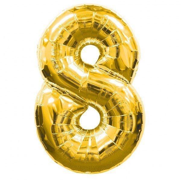 Globo de poliamida 100 cm. helio numero 8 oro