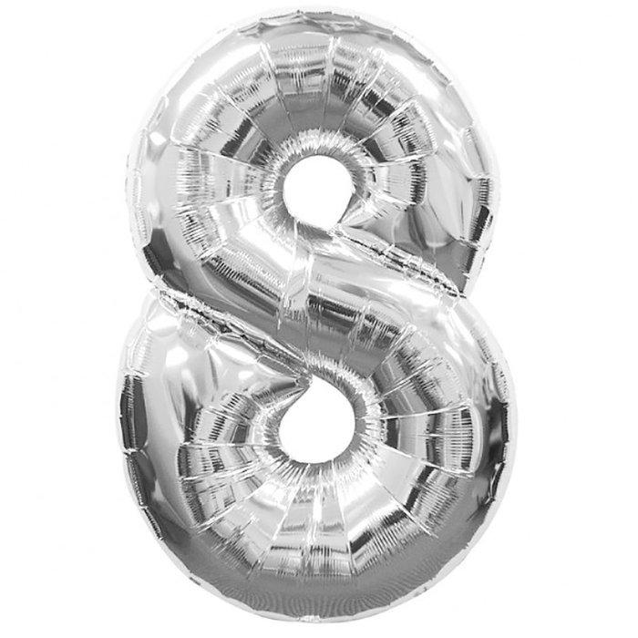 Globo de poliamida 100 cm. helio numero 8 plata