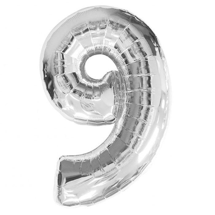 Globo de poliamida 100 cm. helio  numero 9 plata