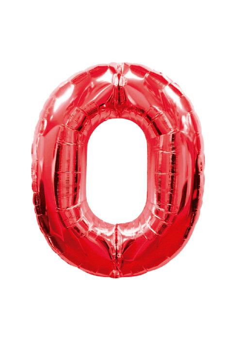 Globo de poliamida 100 cm. helio numero 0 rojo
