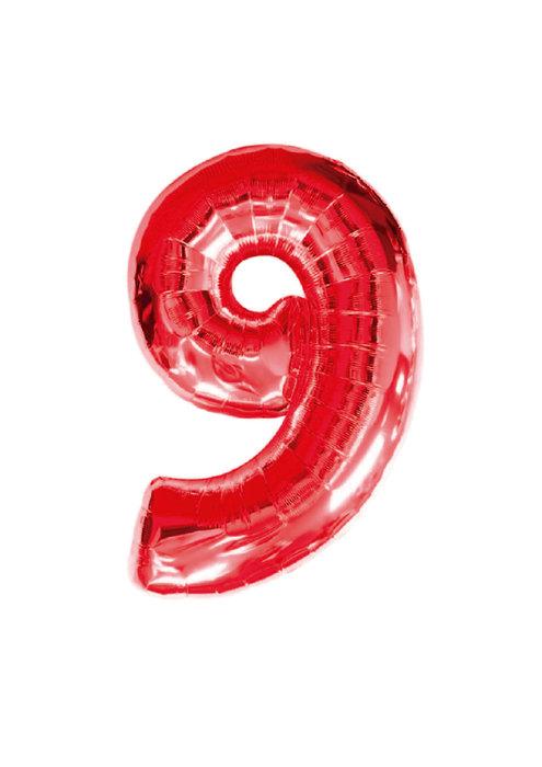Globo de poliamida 100 cm. helio numero 9 rojo