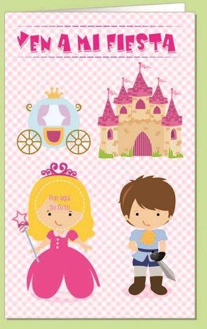 Invitacion fiesta troquelada princesa blister 8 unidades
